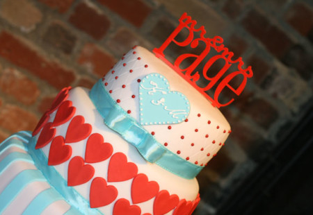 Tiffany Blue & Red Wedding Cake